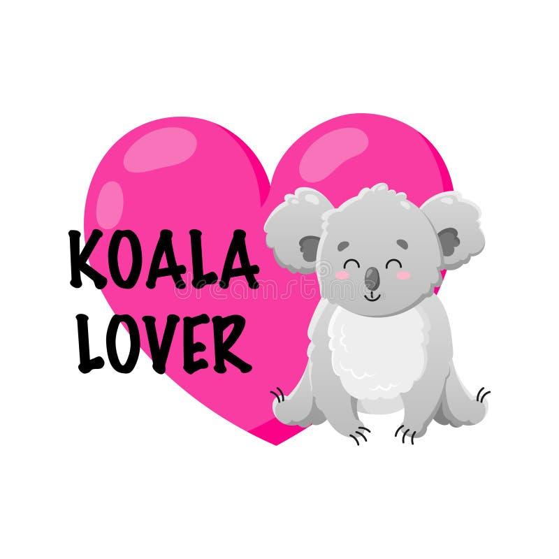 Coala dos desenhos animados do vetor com coração Ilustração da garatuja Amante da coala Animal feliz engraçado Molde para a cópia ilustração stock