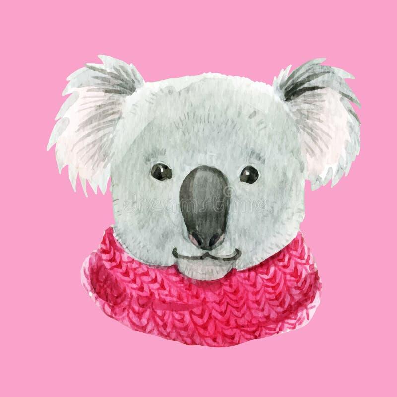 Coala em um lenço cor-de-rosa ilustração stock