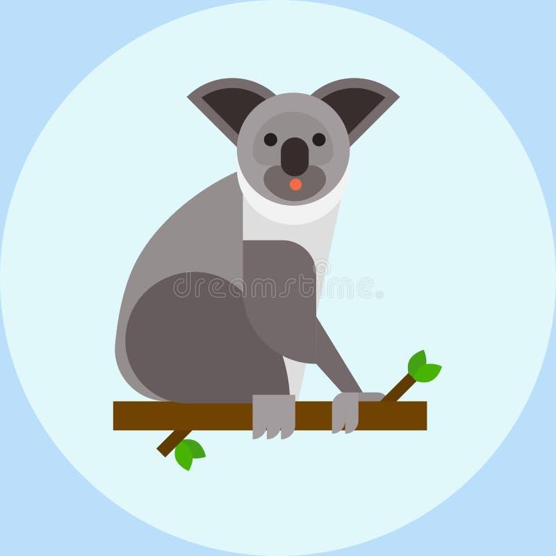 Coala nova que senta-se no vetor calmo da natureza do abrandamento do mamífero bonito do urso de Austrália do ramo de árvore ilustração stock