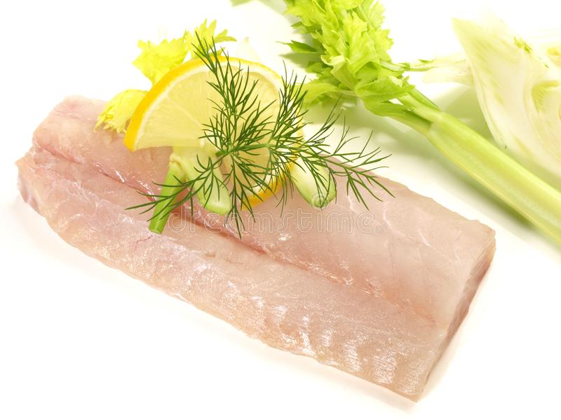 Coalfish - Fish raw. On white Background stock photo