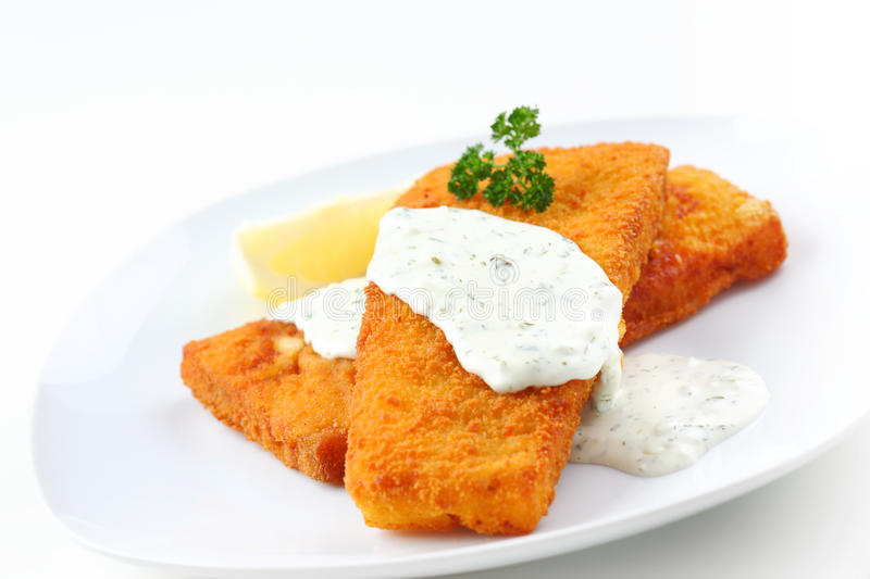Coalfish with remoulade. Healthy coalfish with diet remoulade stock images