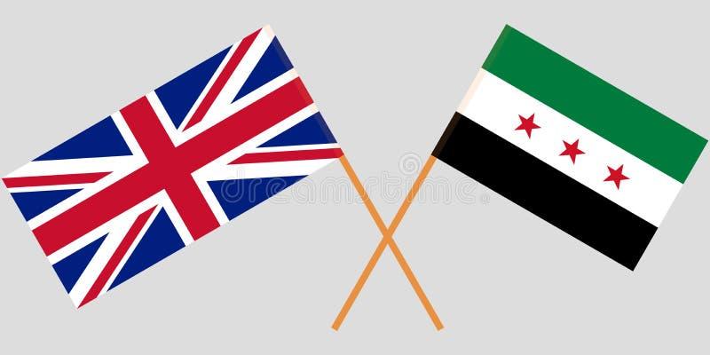 Coalición nacional siria cruzada y banderas BRITÁNICAS Colores oficiales Proporción correcta Vector ilustración del vector
