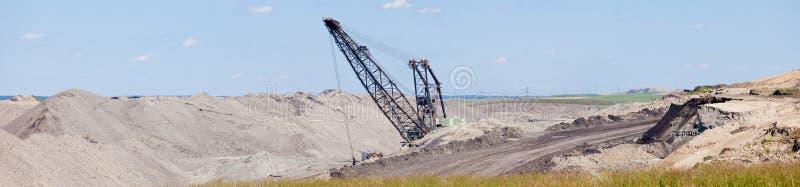 Coalmine ekskawatoru moonscape tailings panorama obraz stock