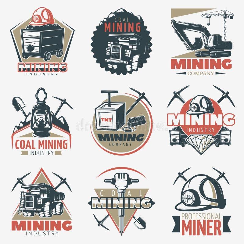 Coalmining emblematy Ustawiający ilustracji