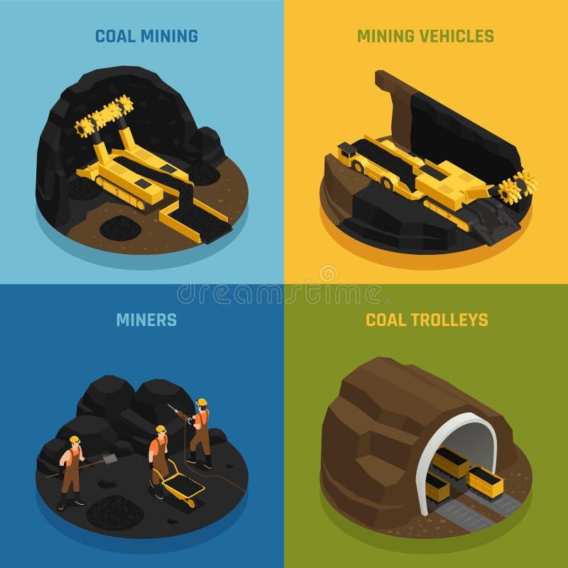 Coalmining isometriskt designbegrepp royaltyfri illustrationer