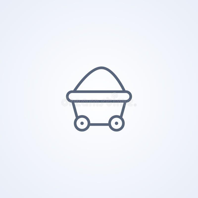 Coalmining vagn, bästa grå linje symbol för vektor royaltyfri illustrationer