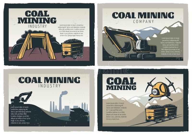 Coalminingdesignuppsättning vektor illustrationer