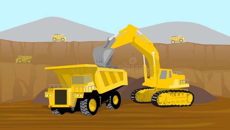 Coalminingoperationpäfyllning in i den tunga lastbilen i dalen som bryter vektorillustrationen royaltyfri illustrationer