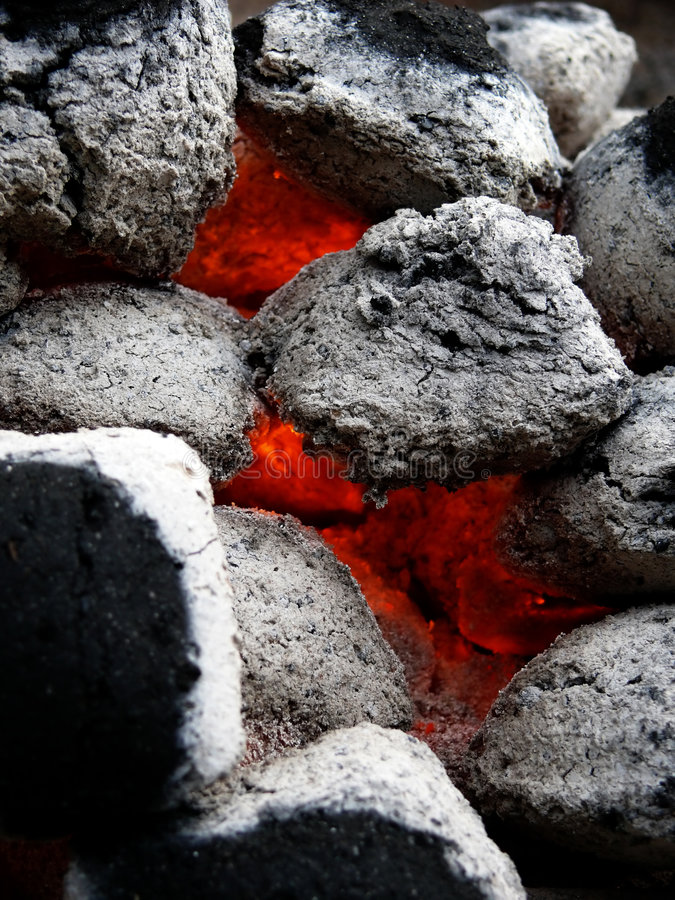 Coals for a BBQ royalty free stock photography