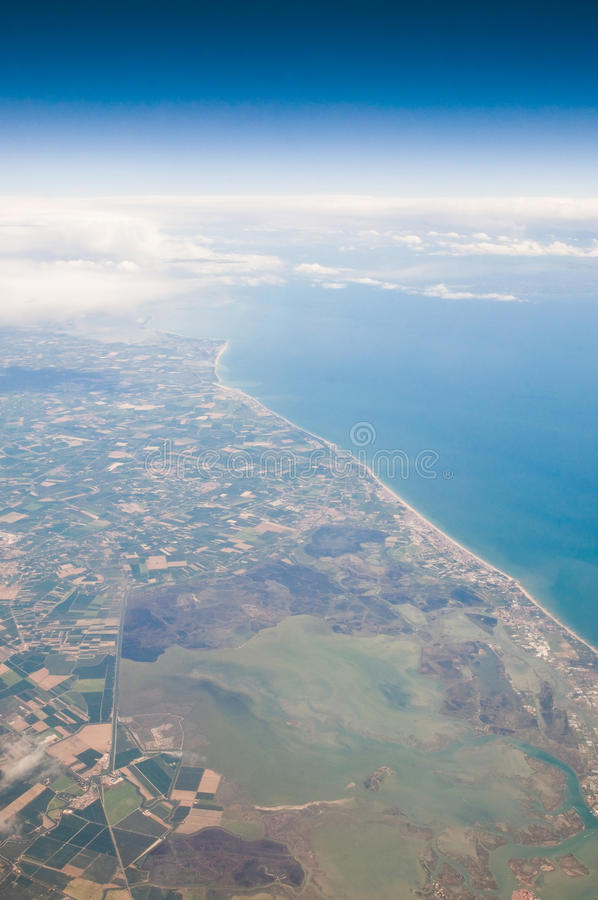 Coast From The Air With Clouds Stock Image
