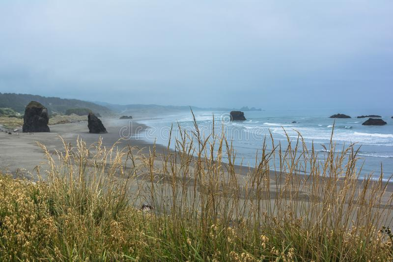 The coast along Brookings, Oregon. Rocks and beaches along the Brookings coast, Oregon stock photo