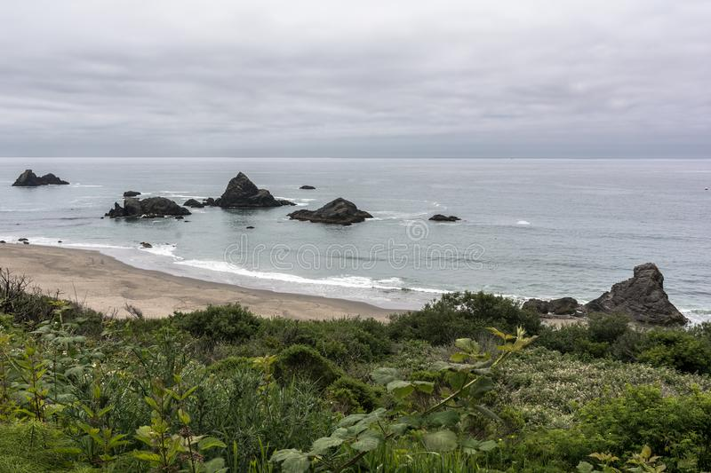The coast along Brookings, Oregon. The rocks and the beaches along the Brookings coast, Oregon, USAn stock images