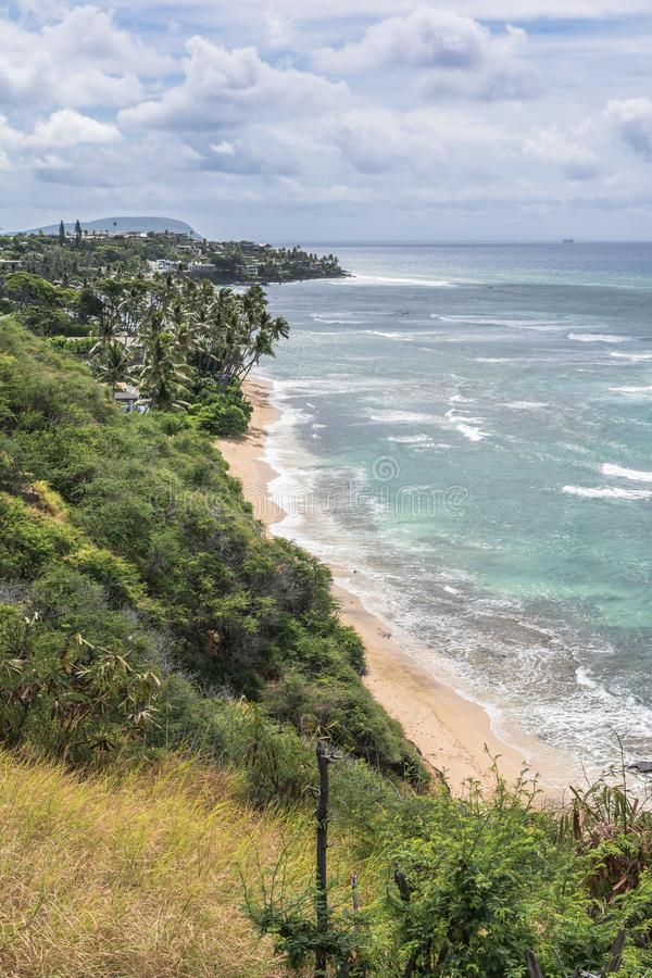 The coast along Diamond Head Road, Waikiki, Oahu, Hawaii royalty free stock images