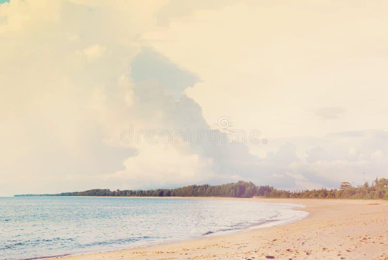 Coast Andaman Sea island Phuket Sand Beach. Cloudy Sea Summer Holiday Background Pastel Toned stock image