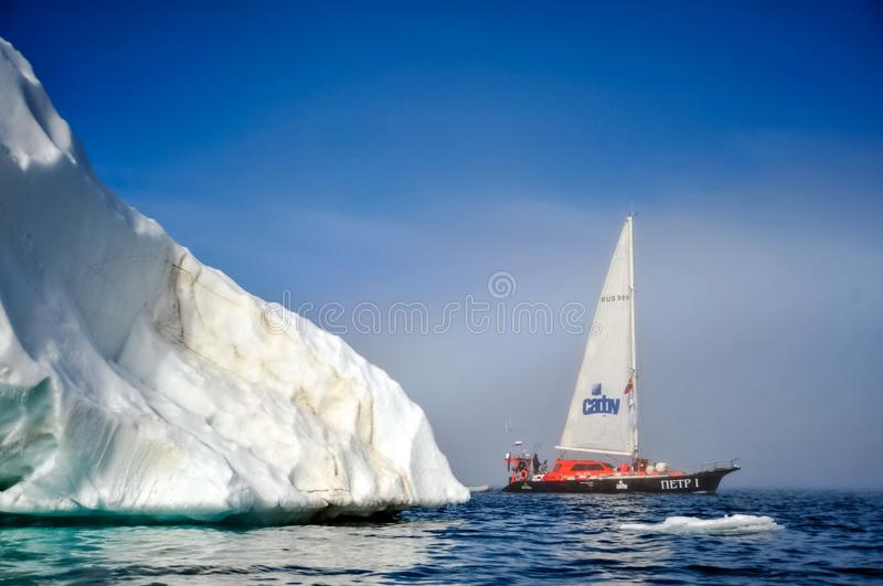 Vessel of the Arctic expedition in the waters of the Arctic Ocean royalty free stock images