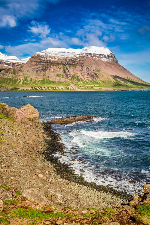 Coast of the Arctic sea, Iceland stock photo
