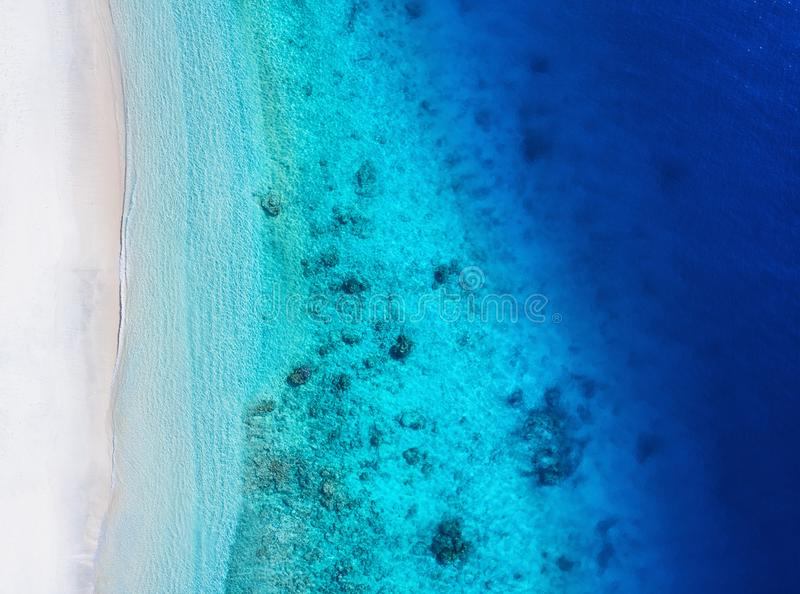 Coast as a background from top view. Turquoise water background from top view. Summer seascape from air. stock image