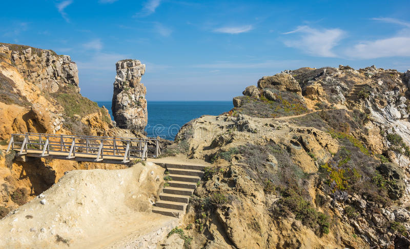 The coast of Atlantic ocean. In Peniche, Portugal stock images