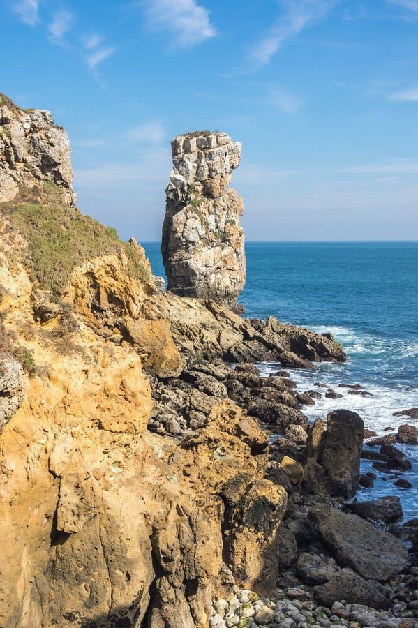The coast of Atlantic ocean. In Peniche, Portugal stock image