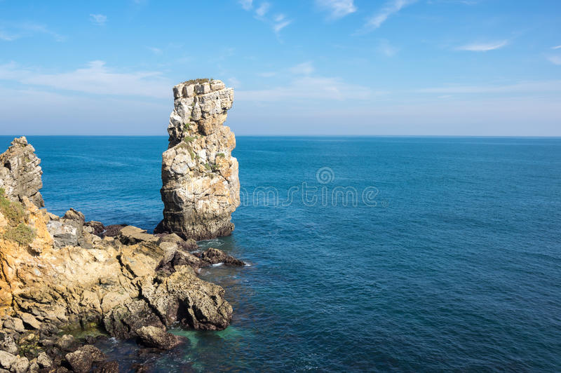 The coast of Atlantic ocean. In Peniche, Portugal royalty free stock photography