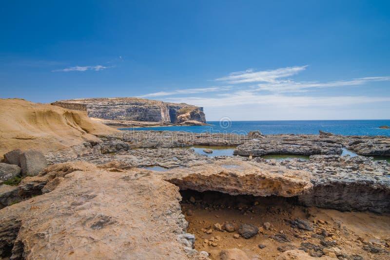 Coast Azure Window. Coast Azure Window in area San Lawarenz on the Maltese island Gozo royalty free stock photos
