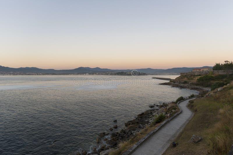Promenade in Biaona Pontevedra, Spain. Coast of Baiona Pontevedra, Spain royalty free stock photo