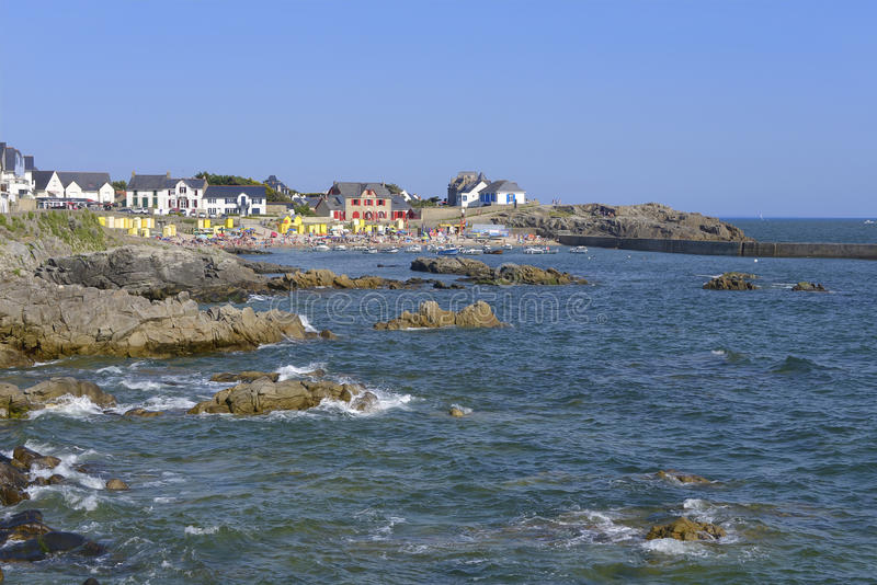 Coast of Batz-sur-Mer in France. Rocky coast and beach of Saint Michel in the background at Batz-sur-Mer, a commune in the Loire-Atlantique department in western royalty free stock photo