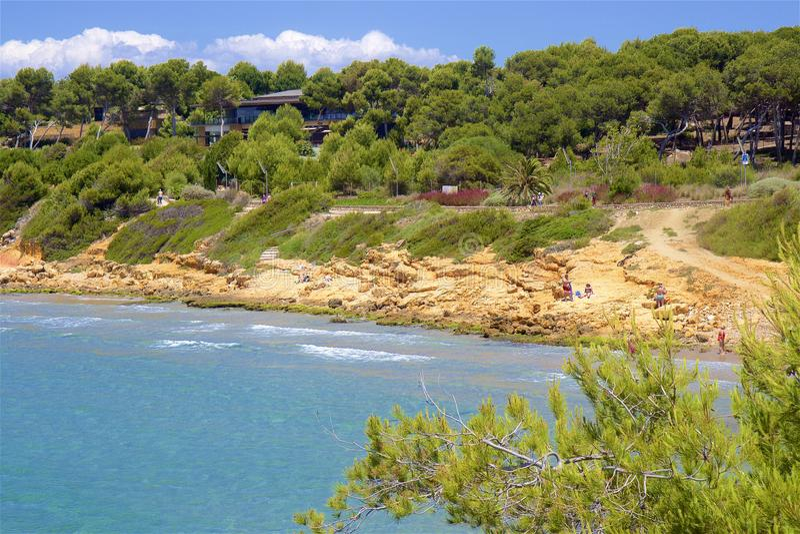 Coast and Beaches of Salou, Spain. Beautiful coastal line and beaches of Salou, Catalunya, Spain stock photo