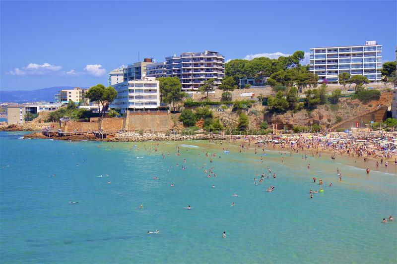 Coast and Beaches of Salou, Spain. Beautiful coastal line and beaches of Salou, Catalunya, Spain stock image