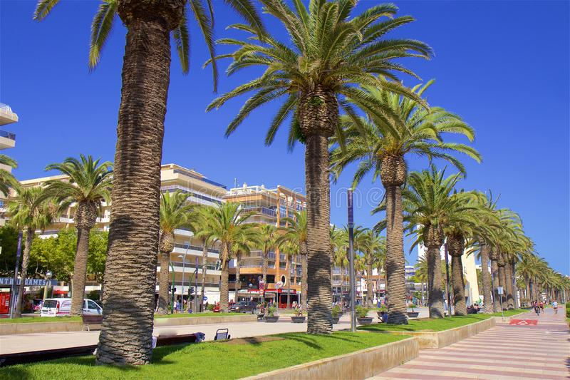 Coast and Beaches of Salou, Spain. Beautiful coastal line and beaches of Salou, Catalunya, Spain stock images