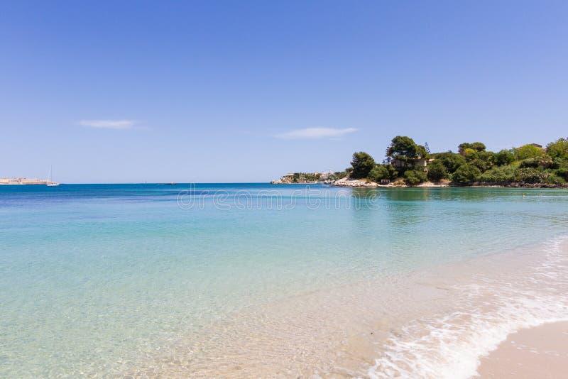 Coast on the Blue Sea, siracusa, sicily royalty free stock photography