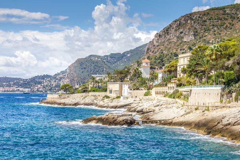Coast in Cap d`Ail, Cote d`Azur royalty free stock image