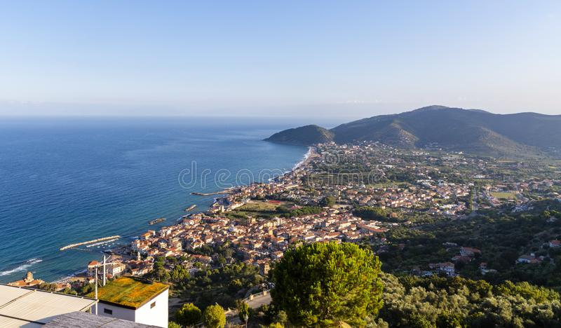 Coast of cilento in salerno italy. Landscape of cilento salerno castellabate acciaroli stock photography