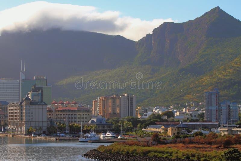 Coast, city and mountain ridge. Port Louis, Mauritius. 22-01-2016 royalty free stock photography