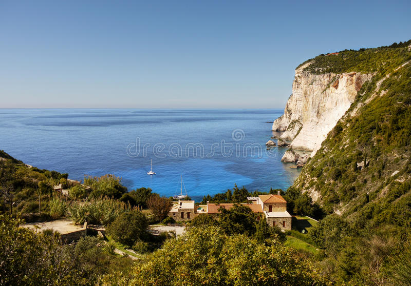 Coast Cliffs on greek island royalty free stock image