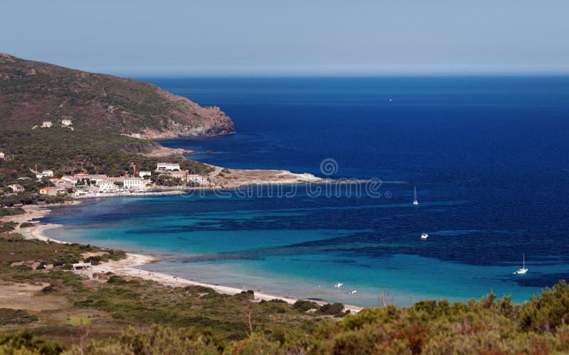 Coast of the Corsica cape. Barcaggio harbor in the coast of the Corsica cape stock photography
