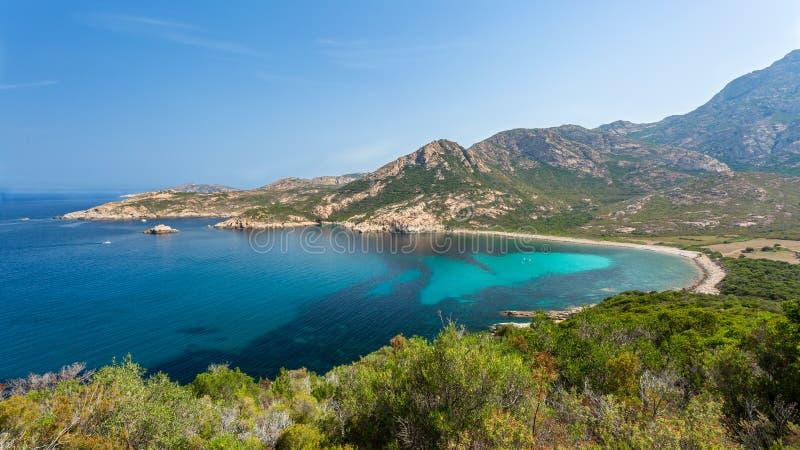 Coast of Corsica between Galeria and Calvi. Turquoise Mediterranean sea and the rocky coastline of Corsica between Galeria and Calvi on the west coast stock photo