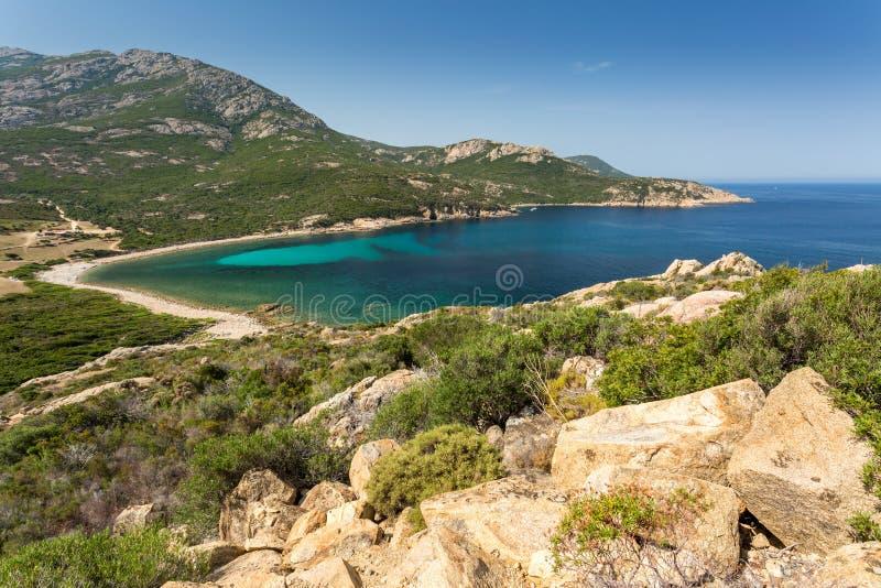 Coast of Corsica between Galeria and Calvi. Turquoise Mediterranean sea and the rocky coastline of Corsica between Galeria and Calvi on the west coast stock images