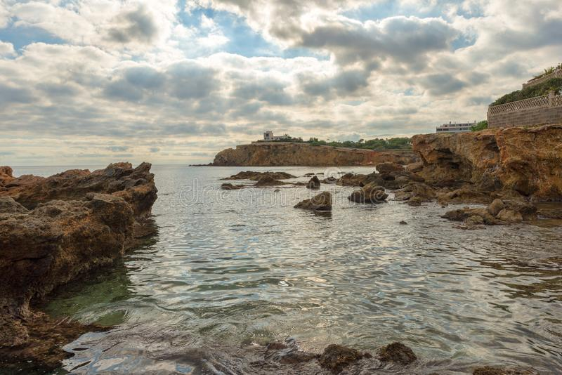 The coast of Des Canar in Ibiza, Balearic Islands. Spain stock photo