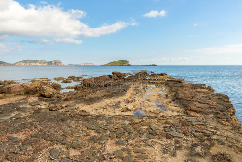 The coast of Des Canar in Ibiza, Balearic Islands. Spain stock photography