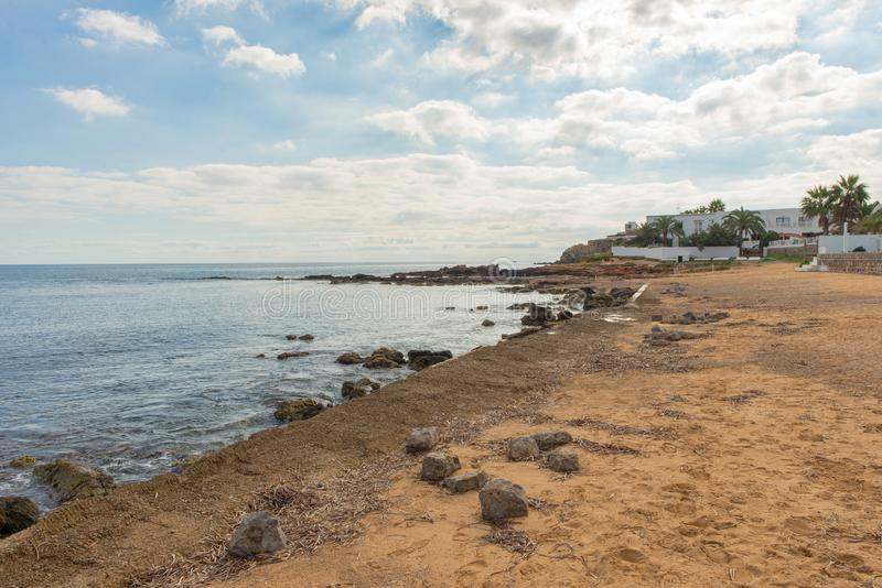The coast of Des Canar in Ibiza, Balearic Islands. Spain stock photos