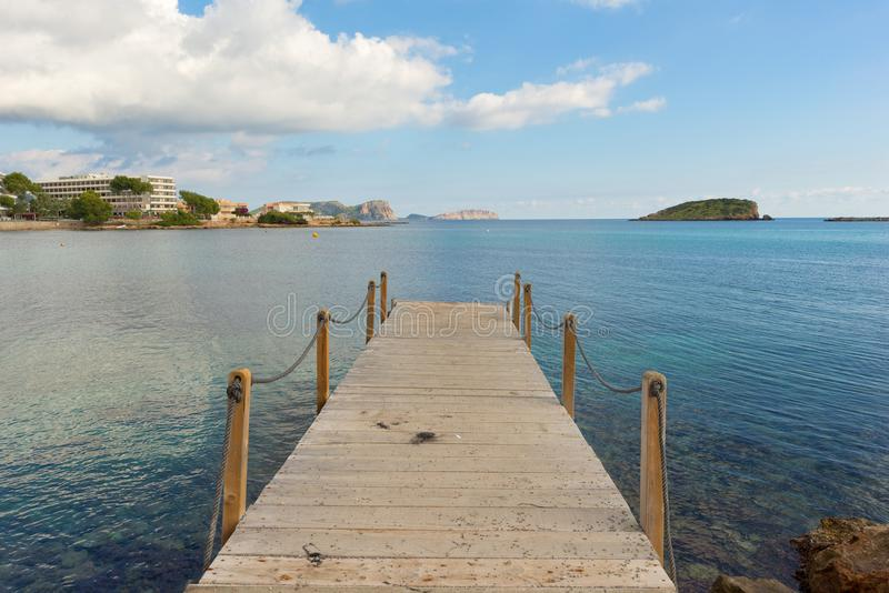 The coast of Des Canar in Ibiza, Balearic Islands. Spain royalty free stock photos