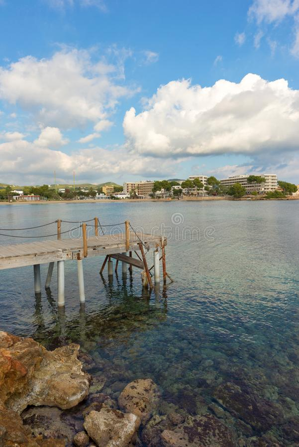 The coast of Des Canar in Ibiza, Balearic Islands. Spain royalty free stock photography