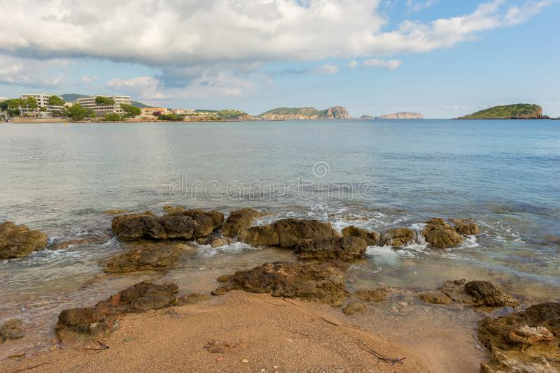 The coast of Des Canar in Ibiza, Balearic Islands. Spain stock image