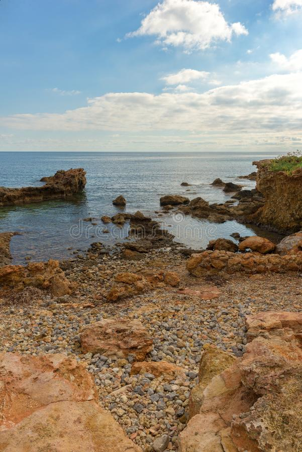 The coast of Des Canar in Ibiza, Balearic Islands. Spain royalty free stock image