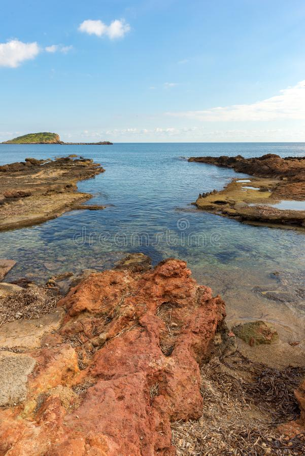 The coast of Des Canar in Ibiza, Balearic Islands. Spain stock images