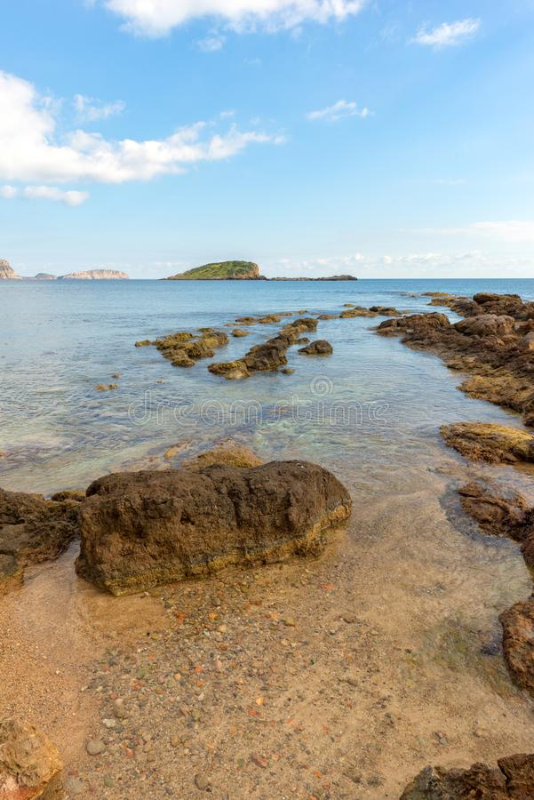 The coast of Des Canar in Ibiza, Balearic Islands. Spain royalty free stock images