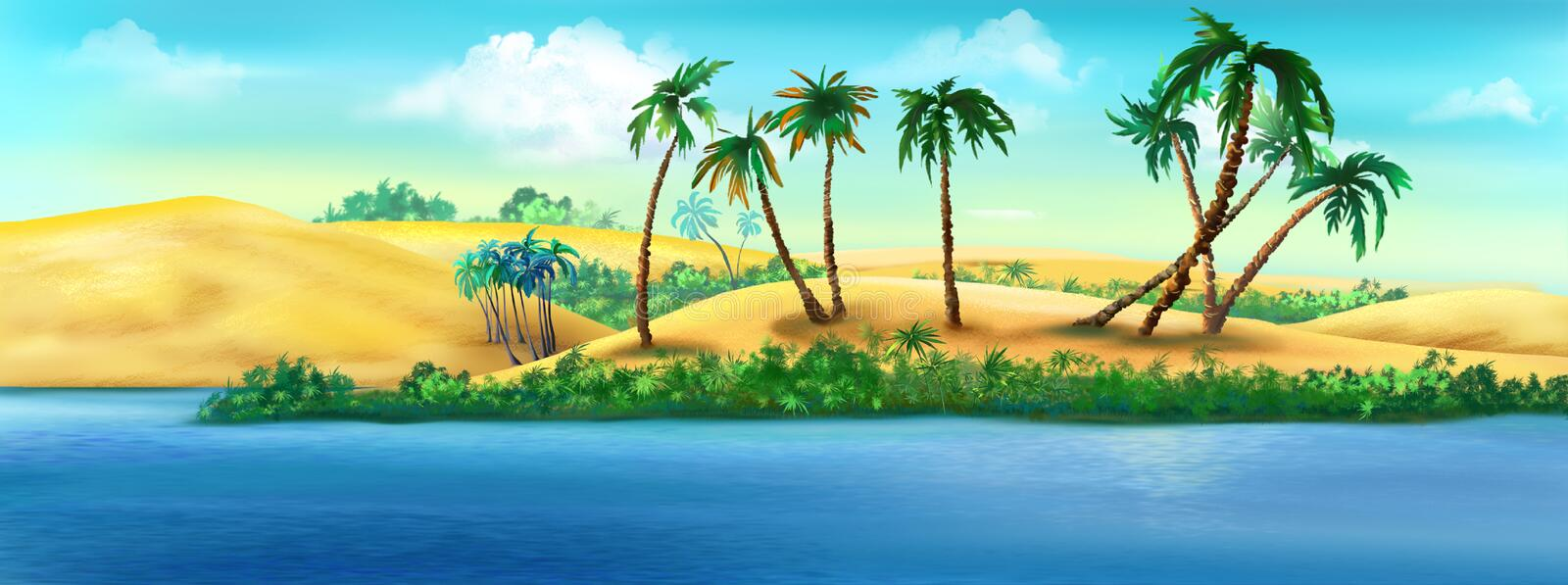 Coast of Egypt from the Nile River. Digital painting of the view of the coast of Egypt from the Nile River vector illustration