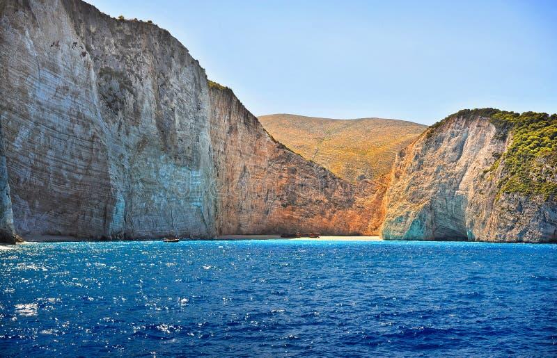 Coast of Greece, Navagio beach, Zakynthos island, Greece. View of the coast from the sea. royalty free stock photos