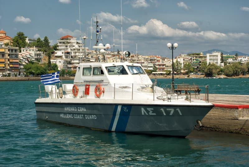 Coast Guard boat docked at a port. royalty free stock photography
